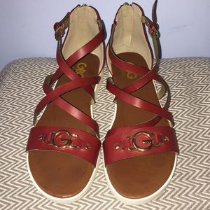Red Guess sandals